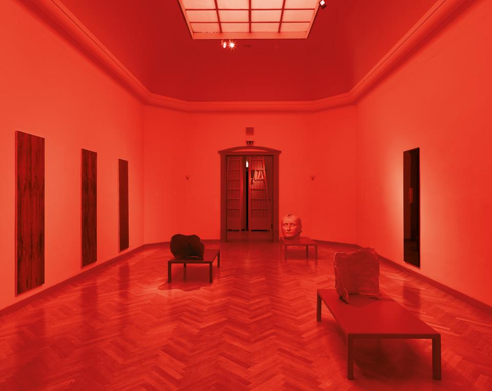 installation view Lukas Schmenger, Andreas Schmitten & Philip Seibel: Der Rote Raum Osthaus Museum, Hagen photo: Niels Schabrod, Düsseldorf