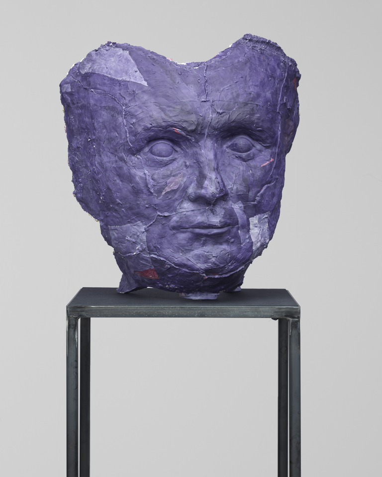 Ron In 2015 polymerplaster, glass fibre, polystyrol, pigment, steel, wood, silk 73 x 66 x 46 cm photo: studio rhein verlag